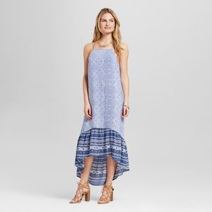 Knox Rose Blue Boho Ruffle Skirt Maxi Dress